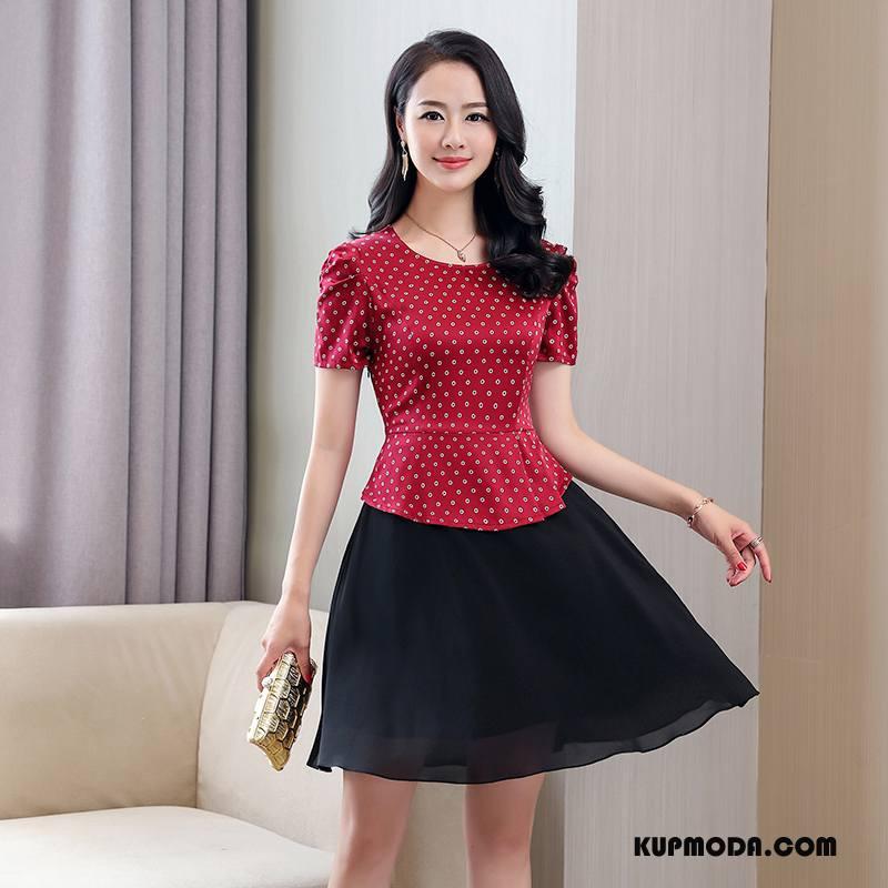 Jedwabna Sukienka Damskie Okrągły Dekolt Piękny Swag Pullover Krótki Rękaw Lato Czerwony