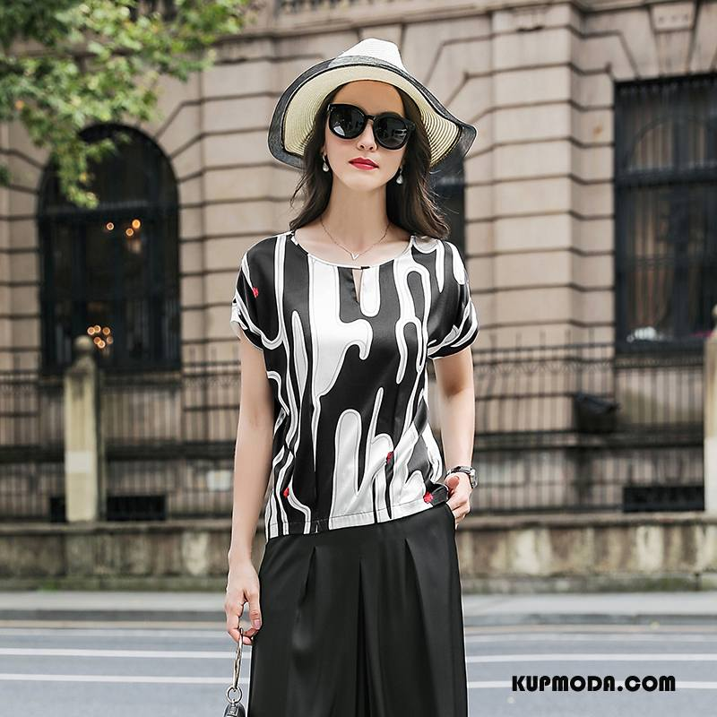 Jedwabna Sukienka Damskie Słodkie Proste Krótki Rękaw Moda Cienkie Lato Biały Czarny