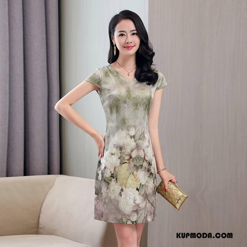 Jedwabna Sukienka Damskie Slim Fit 2018 Długie Proste Rękawy Eleganckie Zielony