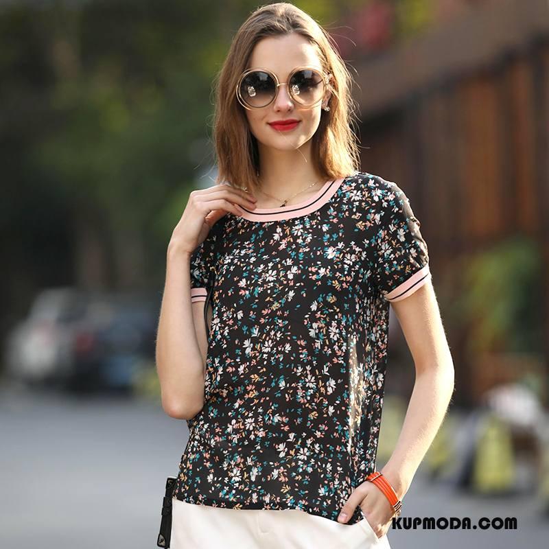 Jedwabna Sukienka Damskie Tendencja 2018 Moda Roślina Krótki Rękaw Wiosna Czarny