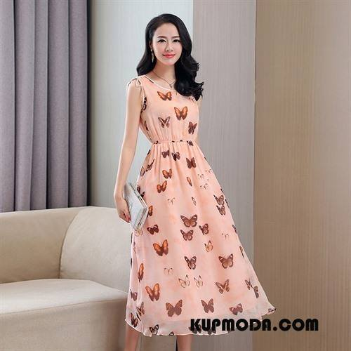 Jedwabna Sukienka Damskie Tendencja Moda Słodkie Piękny Okrągły Dekolt Bez Rękawów Różowy