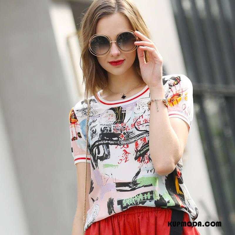 Jedwabna Sukienka Damskie Wiosna Moda Wzór Cienkie Krótki Rękaw Świeży Biały