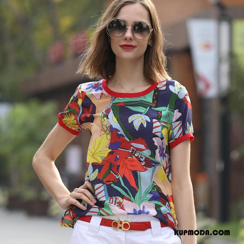 Jedwabna Sukienka Damskie Wiosna Okrągły Dekolt Krótki Tendencja Piękny Kwiaty Kolor
