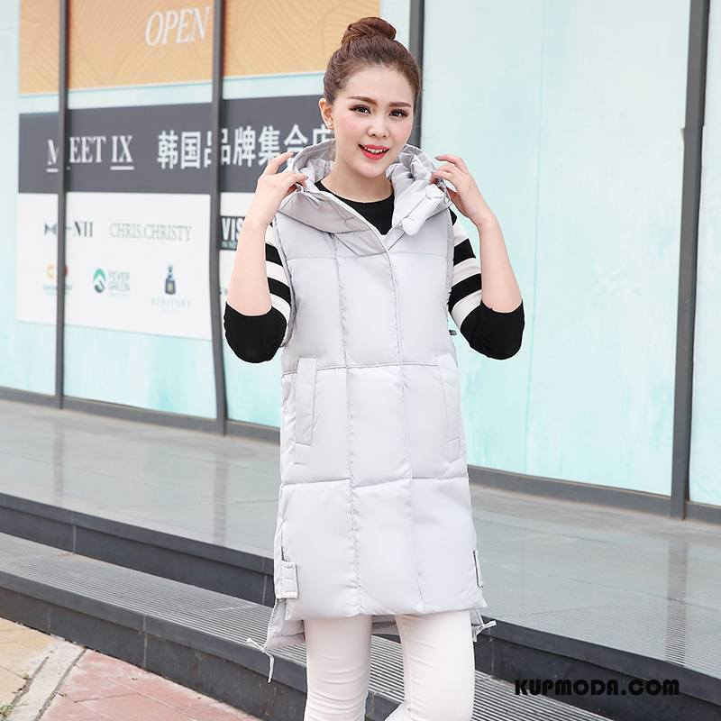 Kamizelka Damskie Długie Bez Rękawów Bawełniane Zima Cienkie Moda Beżowy Biały