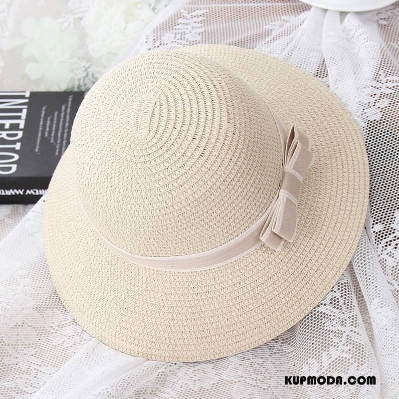 Kapelusz Damskie Outdoor Wakacje Damska Słońce Wszystko Pasuje Plażowe Beżowy Biały