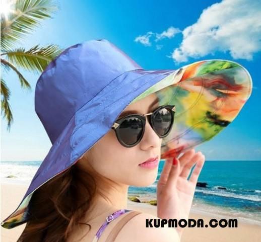 Kapelusz Damskie Słońce Ochrona Przed Słońcem Składać Dwustronny Plażowe Damska Granatowy