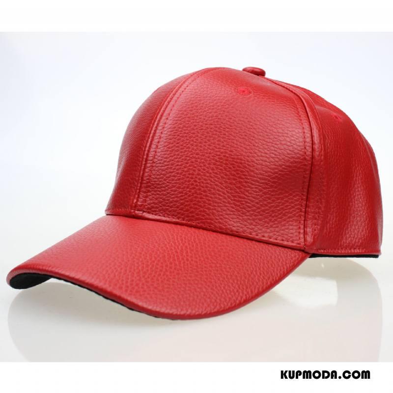 Kapelusz Męskie Europa Czapka Baseballowa Sportowe Damska Casual Skóra Czerwony