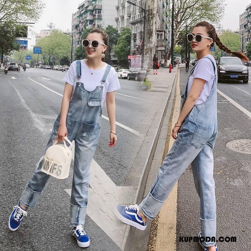 Kombinezon Damskie Środkowa Stan Szelki Tendencja 2018 Moda Eleganckie Niebieski Złoty Biały