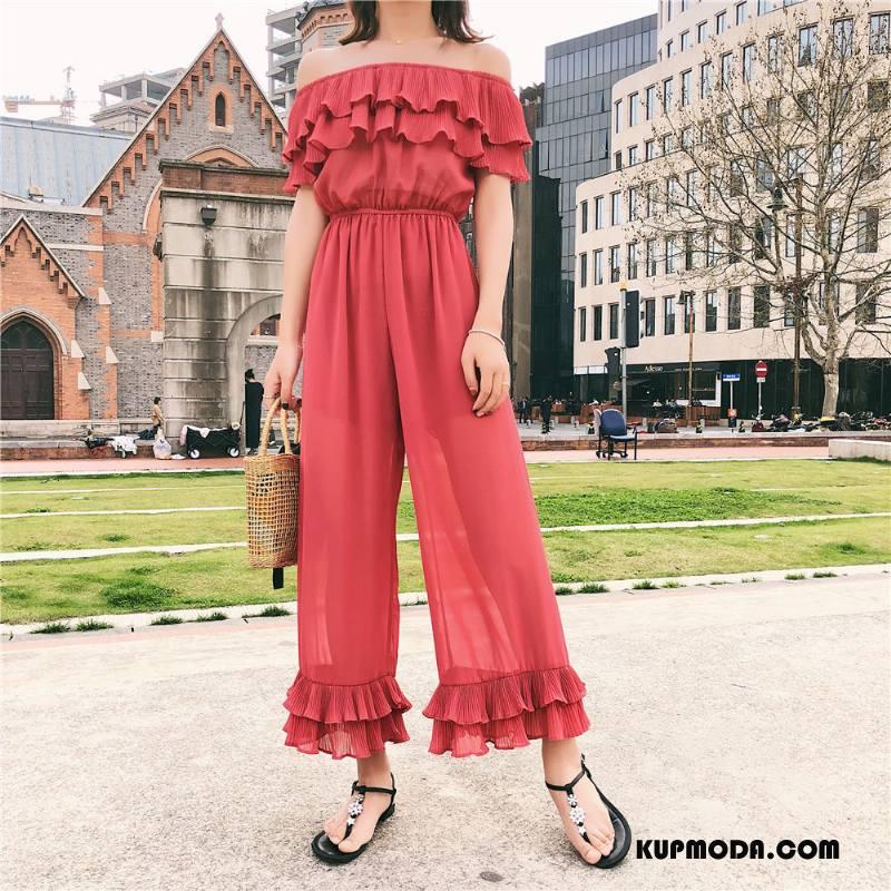 Kombinezon Damskie Lato Casual Moda Plisowana Spodnie Na Szelkach Szycie Czerwony
