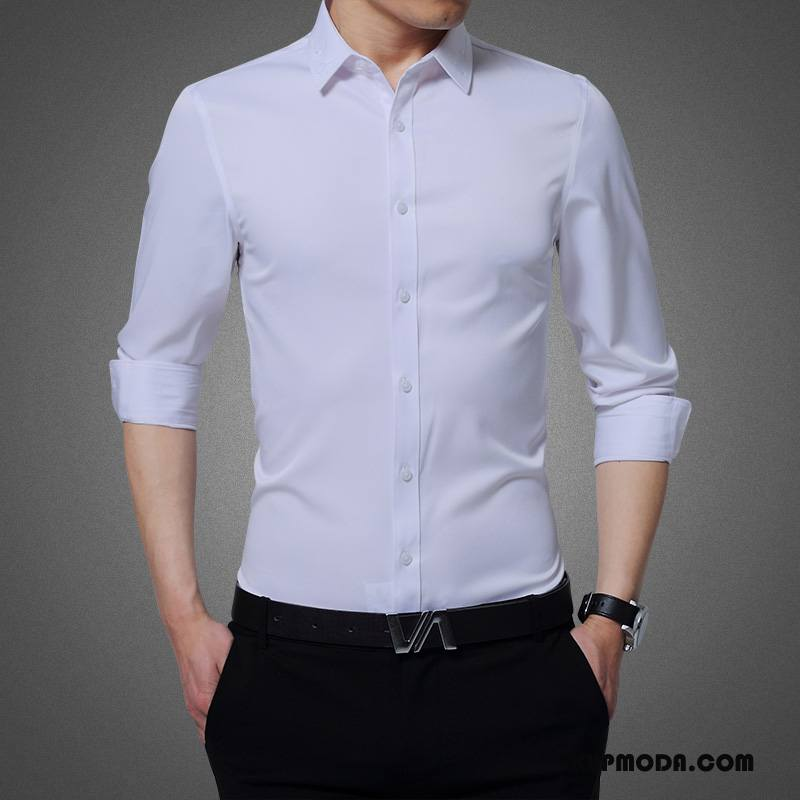 Koszula Męskie 2018 Długi Rękaw Męska Nowy Slim Fit Biały
