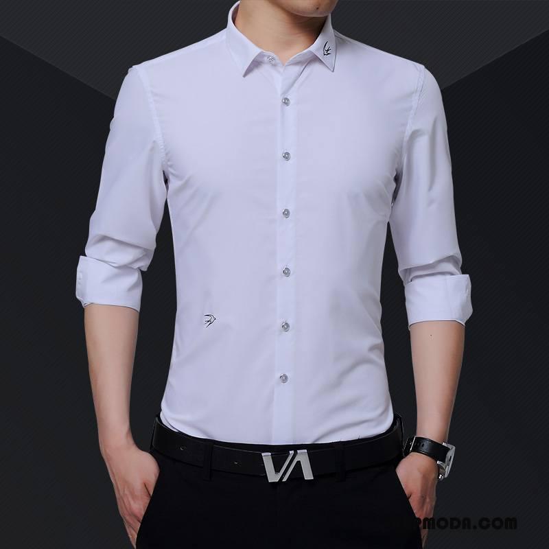 Koszula Męskie 2018 Jesień Męska Biały