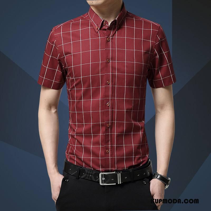 Koszula Męskie Casual Koszula Z Krótkim Rękawem Męska Slim Fit Czerwony