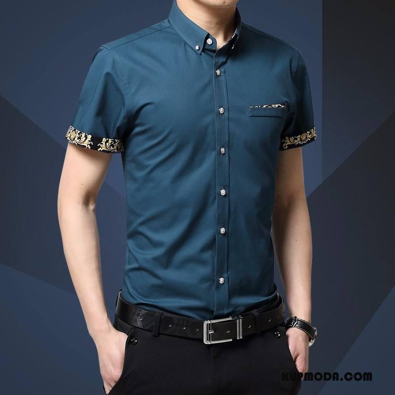 Koszula Męskie Casual Męska Slim Fit Koszula Z Krótkim Rękawem Ciemno Niebieski
