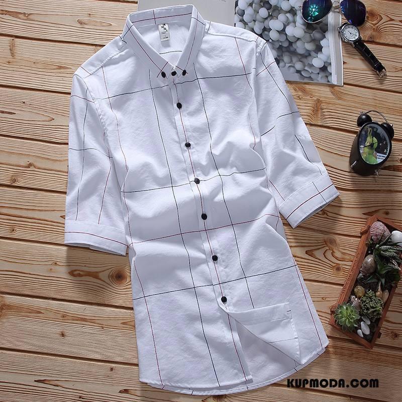 Koszula Męskie Casual Rękawy Męska Krótki Rękaw Krata Slim Fit Biały