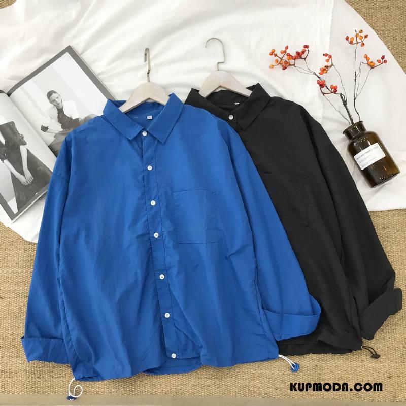 Koszula Męskie Długi Rękaw Męska Bawełniane Niebieski