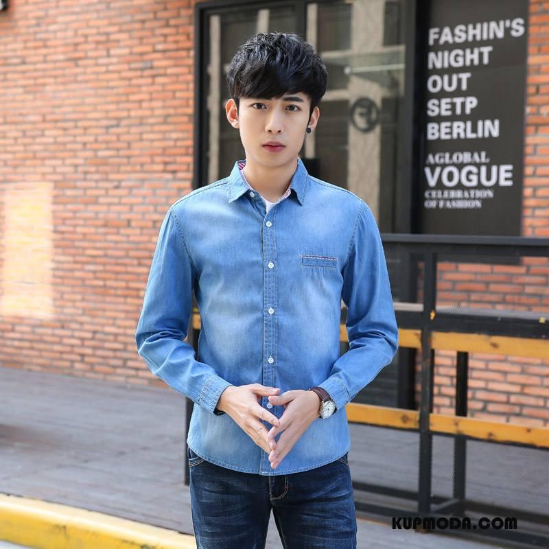 Koszula Męskie Denim Jasny Niebieski Granatowy Niebieski Jasny