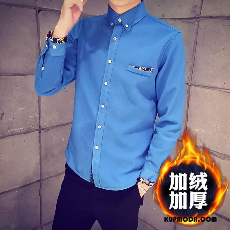 Koszula Męskie Dla Grubych Bawełna Sztruksowe Męska Zima Długi Rękaw Niebieski
