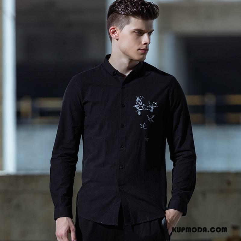 Koszula Męskie Drukowana Młodzież Męska Zima Casual Długi Rękaw Czarny