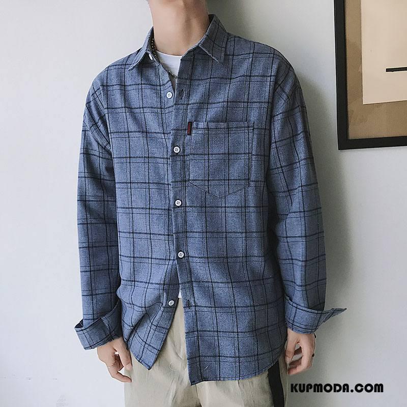 Koszula Męskie Jesień Moda Tendencja Nowy Wygodne Szerokie Ciemno Niebieski