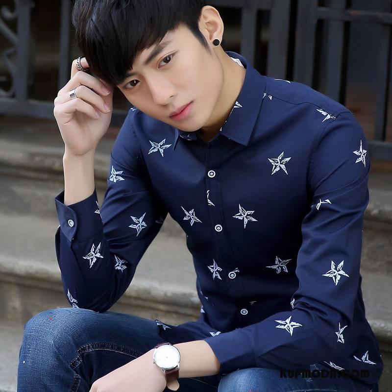 Koszula Męskie Jesień Slim Fit Męska Długi Rękaw Tendencja Młodzież Niebieski