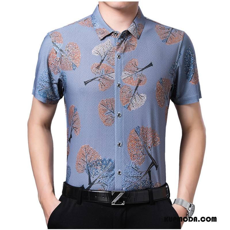 Koszula Męskie Krótki Rękaw Kwiaty Moda Wzór Młodzież Casual Niebieski