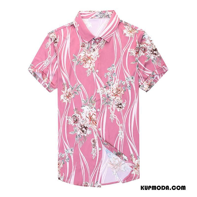Koszula Męskie Kwiaty Męska Osobowość Nowy Moda Lato Złoty Proszek