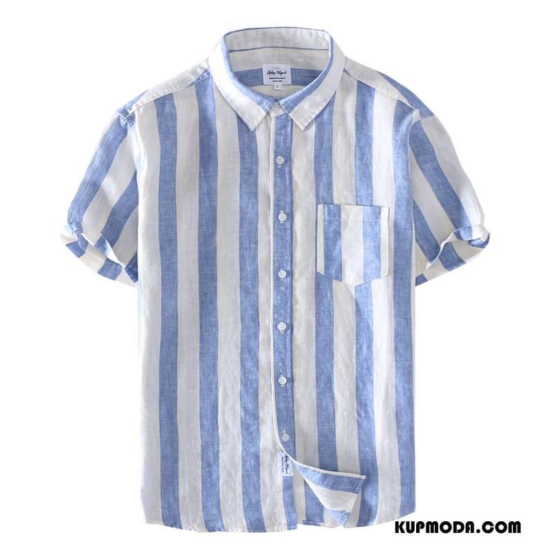 Koszula Męskie Męska Czyste Oddychające Tendencja Młodzież Kwadratowy Dekolt Niebieski