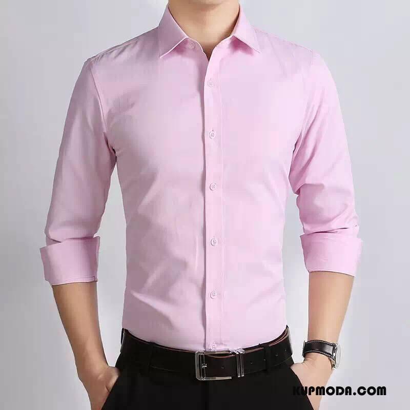 Koszula Męskie Męska Długi Rękaw Ślubna Jesień Wiosna Praca Różowy