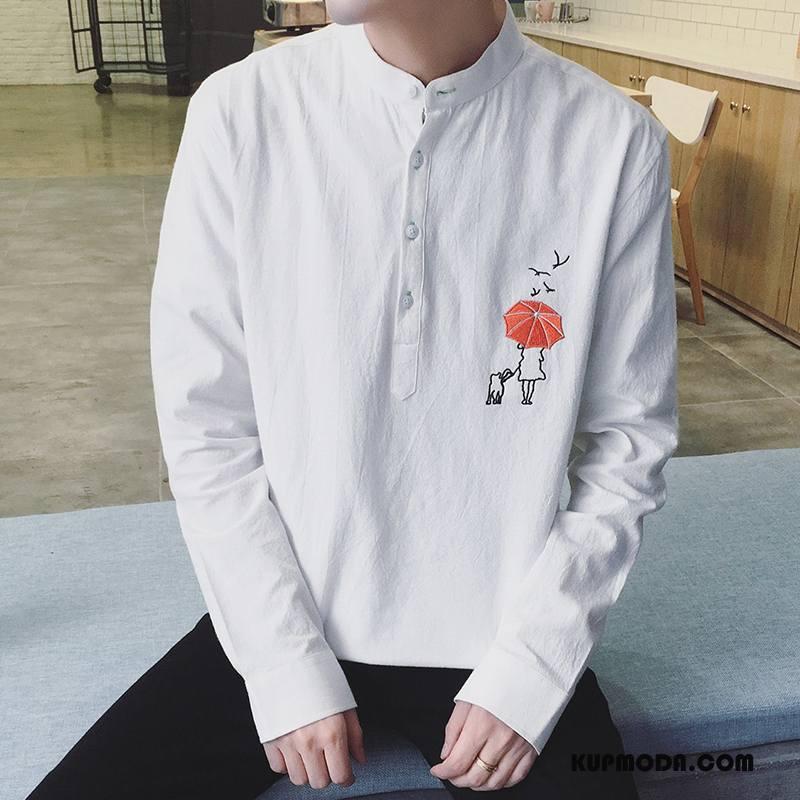 Koszula Męskie Męska Długi Rękaw Jesień Student Tendencja Nastolatek Biały