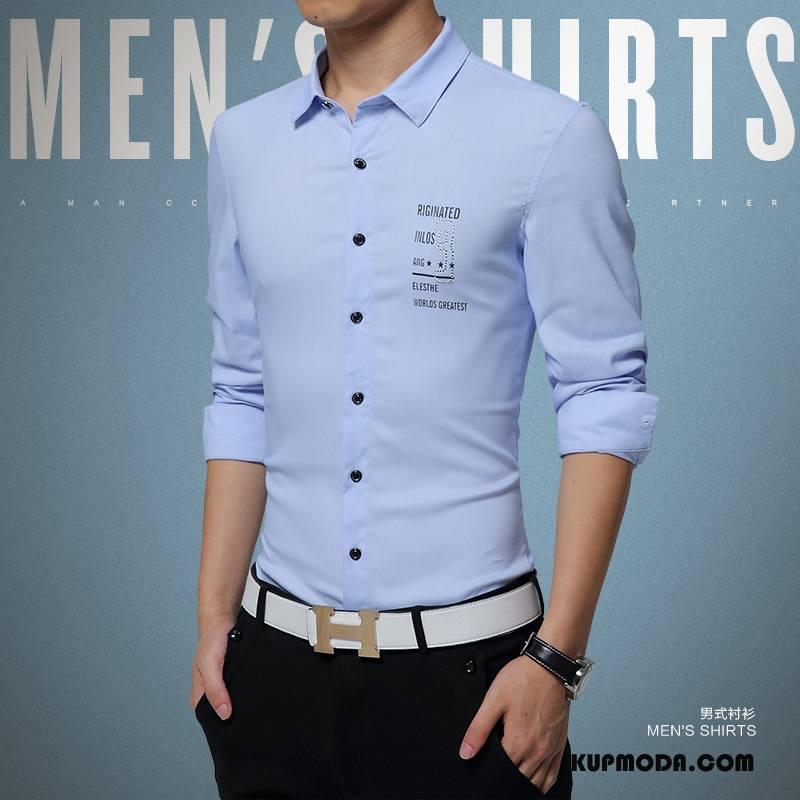 Koszula Męskie Męska Slim Fit Wysoki Jedwab Bawełniane Długi Rękaw Niebieski