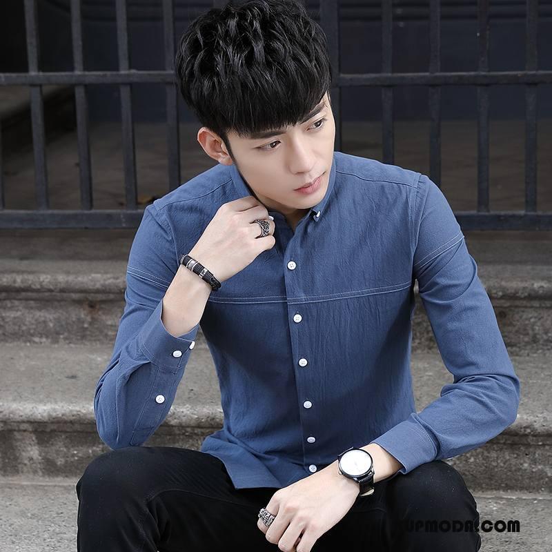 Koszula Męskie Męska Tendencja Nastolatek Długi Rękaw Jesień Nowy Ciemno Niebieski Biały