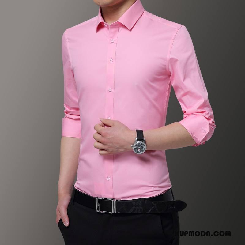 Koszula Męskie Młodzież Cienkie Długi Rękaw Slim Fit Czysta Różowy