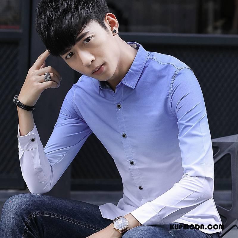 Koszula Męskie Młodzież Gradient Męska Długi Rękaw Casual Jesień Niebieski