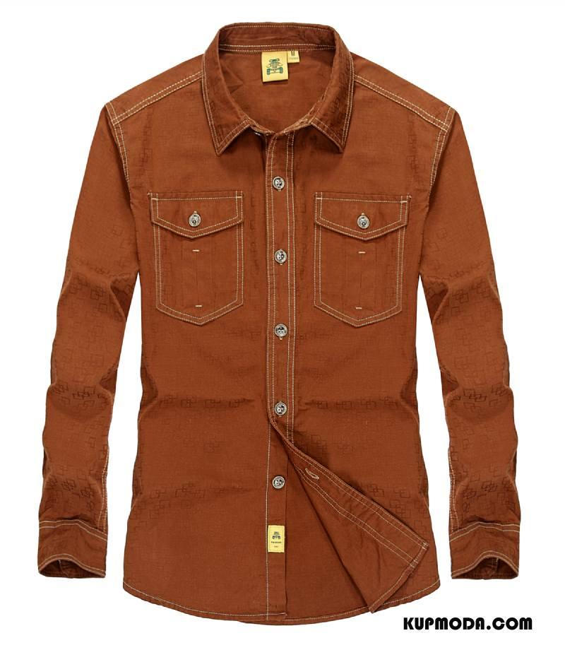 Koszula Męskie Nowy Duże Outdoor 2018 Jesień Zima Oranż Żółty