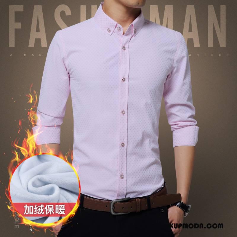 Koszula Męskie Plus Kaszmir Ciepłe Biznes Dla Grubych Zima Slim Fit Czysta Różowy Biały