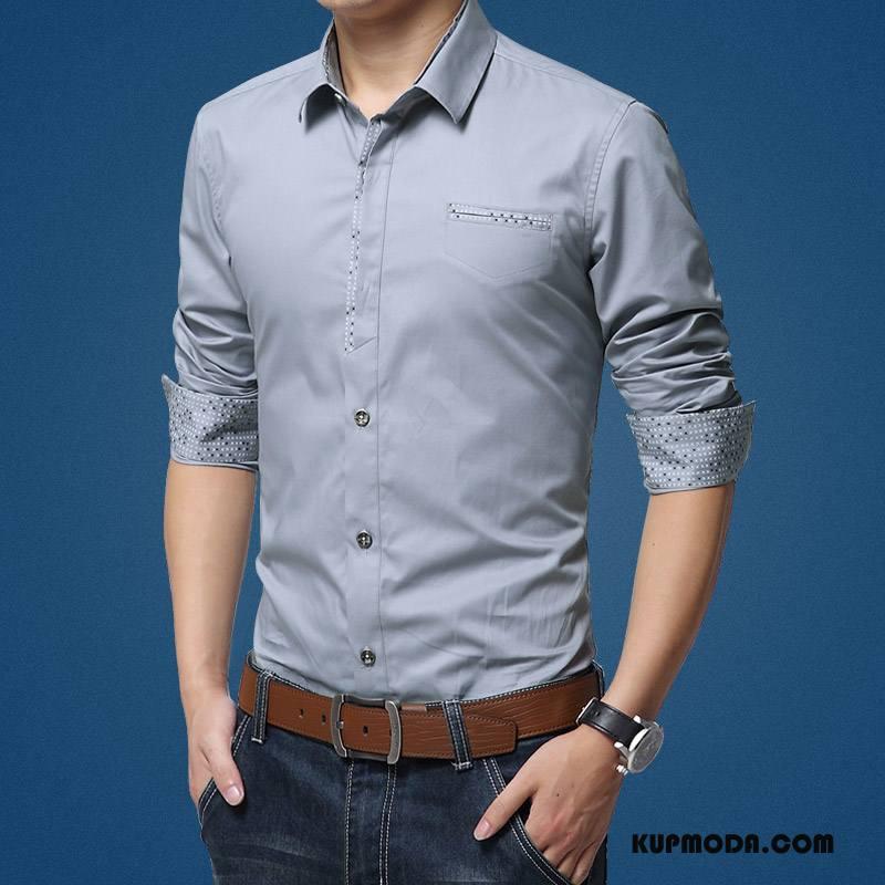 Koszula Męskie Slim Fit Casual Biznes Długi Rękaw Bawełna Męska Szary