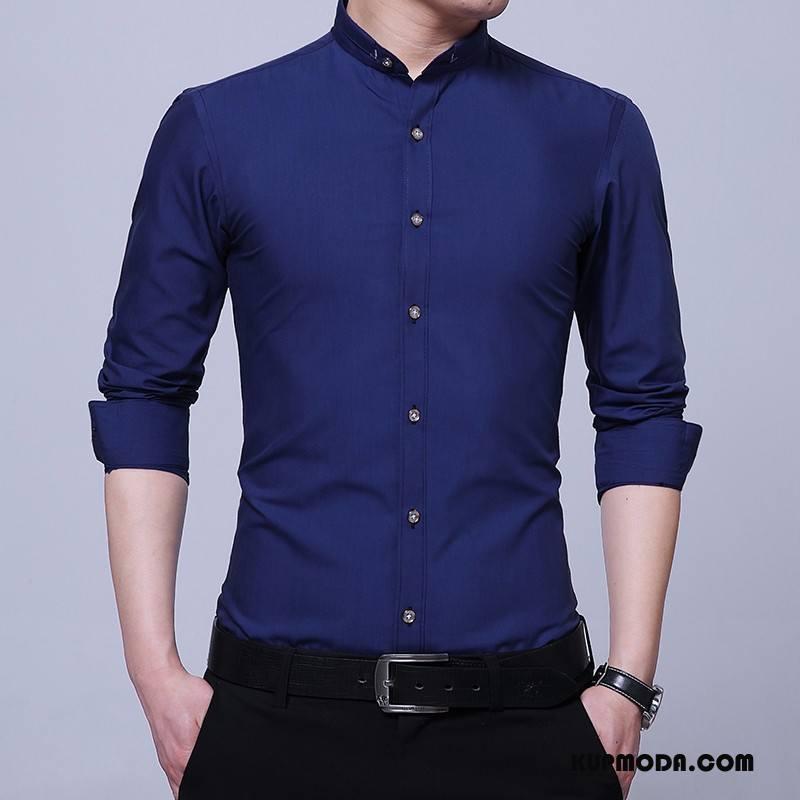 Koszula Męskie Slim Fit Długi Rękaw Moda Lato Casual Tendencja Granatowy