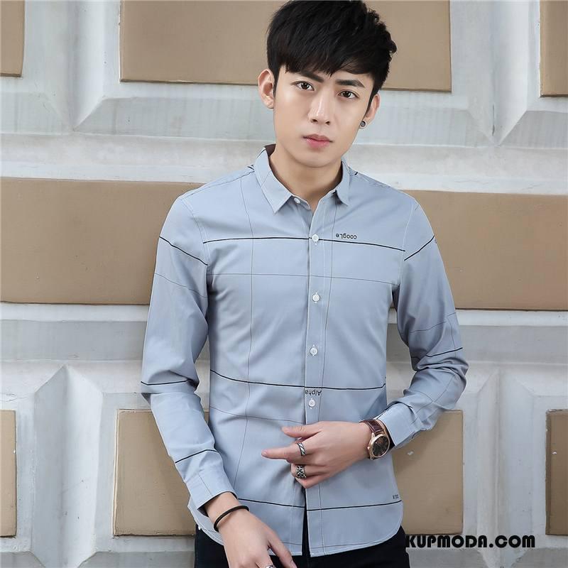 Koszula Męskie Slim Fit Długi Rękaw Szycie Młodzież Cienkie Jesień Szary