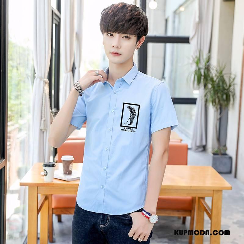 Koszula Męskie Slim Fit Krótki Rękaw Długi Rękaw Męska Casual Student Lazurowy Biały