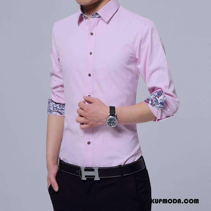 Koszula Męskie Slim Fit Tendencja Młodzież Męska Casual Osobowość Proszek