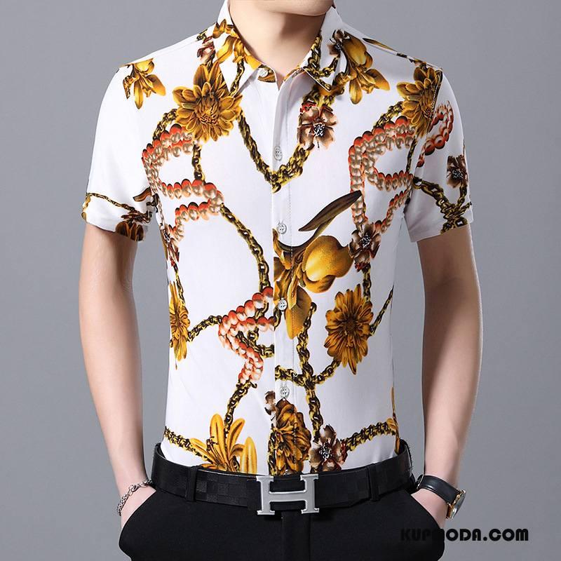 Koszula Męskie Tendencja Koszula Z Krótkim Rękawem Wzór Osobowość Lato Kwiaty Biały