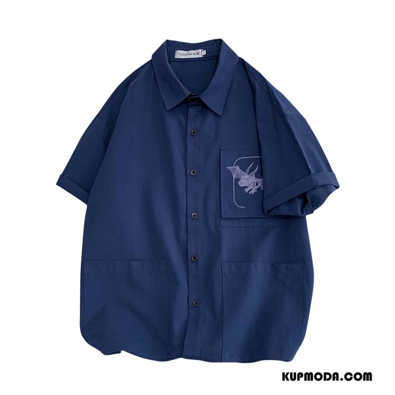 Koszula Męskie Topy Tendencja Szerokie Męska Modna Marka Krótki Rękaw Ciemno Niebieski