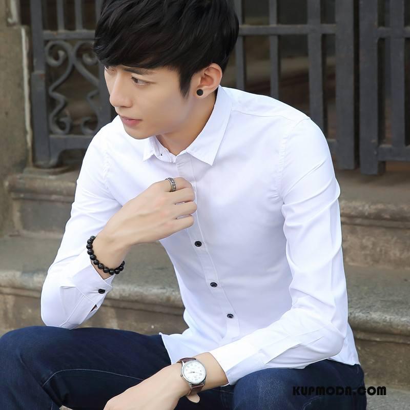 Koszula Męskie Wiosna Długi Rękaw Młodzież Jesień Męska Casual Czysta Biały