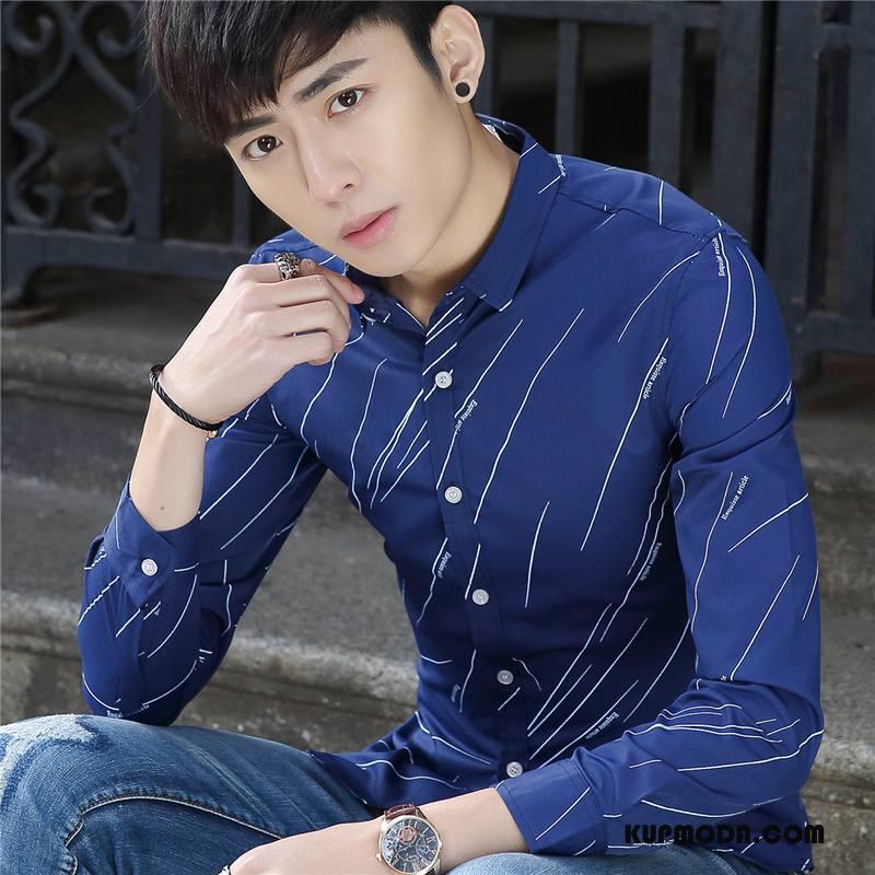 Koszula Męskie Wiosna Młodzież Biznes Praca Slim Fit Długi Rękaw Ciemno Niebieski
