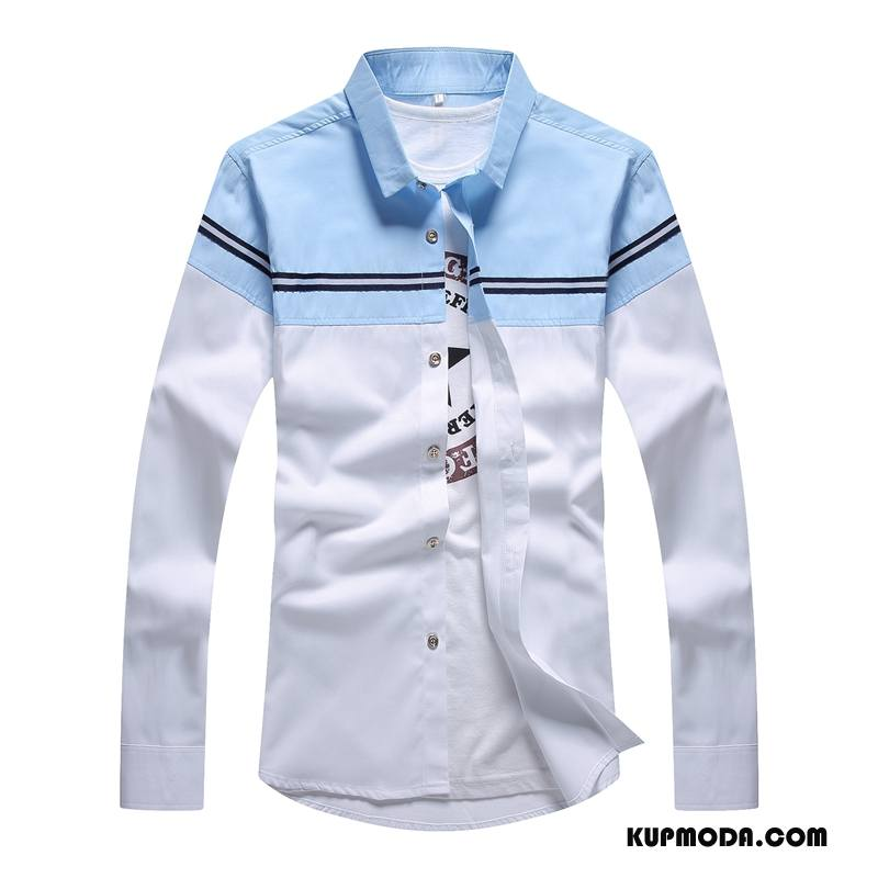 Koszula Męskie Wiosna Slim Fit Młodzież Nowy Długi Rękaw Szycie Biały