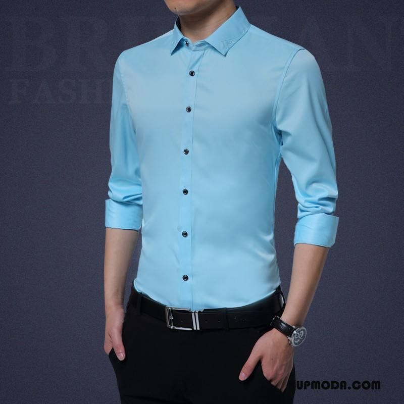 Koszula Męskie Wygodne Nowy Jesień Długi Rękaw Oddychające Męska Niebieski
