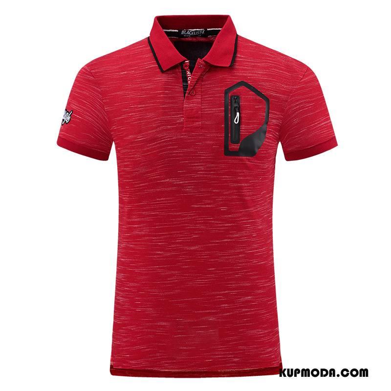 Koszulka Polo Męskie 2018 Krótki Rękaw Topy Męska Klapa Drukowana Czerwony