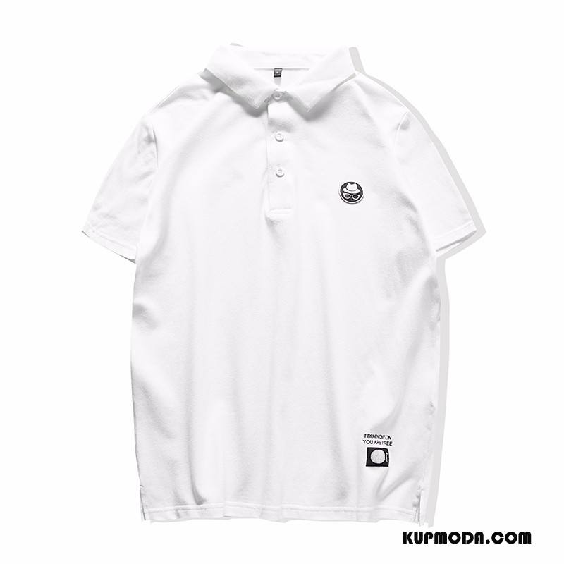 Koszulka Polo Męskie Bawełna 2018 Klapa Lato Moda Osobowość Biały