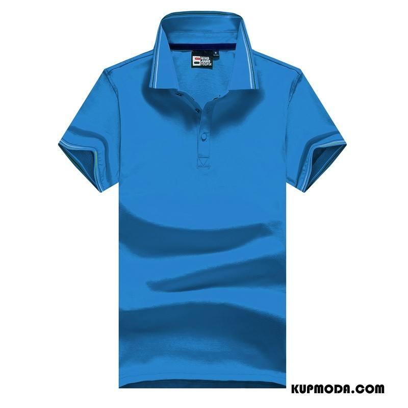 Koszulka Polo Męskie Casual Nowy W Średnim Wieku Bawełna Cienkie Zakochani Niebieski