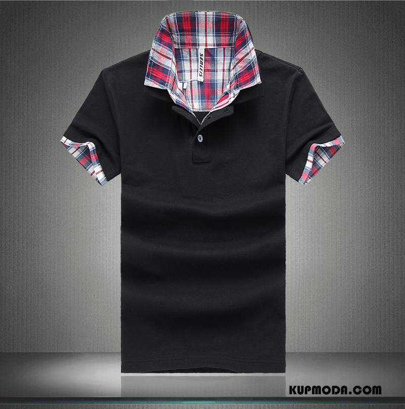 Koszulka Polo Męskie Krótki Rękaw Slim Fit T-shirt Klapa Lato Z Bawełny Czysta Czarny